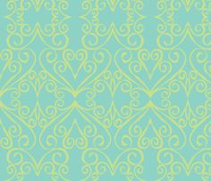 hearts and curls fabric by taragreen on Spoonflower - custom fabric