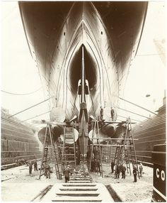 Cunard Line LUSITANIA in dry dock prior to entering service