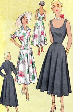 1950s Dress Pattern McCall 8066 Day or Evening Scoop Neck Gored Skirt Dress and…