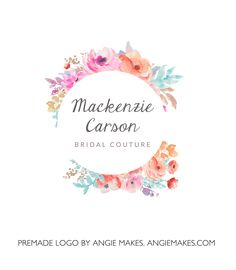 This Simple, Watercolor Flower Wreath Logo Includes a Lovely Painted Flower Bouquet. Rock Your Brand With a Pretty Watercolor Flower Wreath.