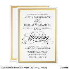 Elegant Script Flourishes Wedding Card - A beautifully elegant wedding invitation featuring calligraphy script text accents with a wide gold border surrounding your text. The simple, tasteful style works well for weddings in all seasons. Sold at Oasis_Landing on Zazzle.