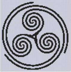 Celtic Triple Spiral 2 Cross Stitch Patt