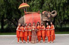 An Indian wedding, complete with elephant clad in coordinating colours. Bridesmaids wearing punjabi instead of saris!!!