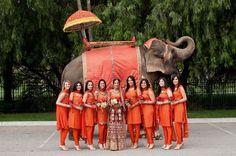 Indian Wedding ~ bride ~ bride's maids ~ tricked out elephant Bollywood Wedding, Desi Wedding, Punjabi Wedding, Pakistani Bridal, Wedding Bride, Our Wedding, Bollywood Style, Big Fat Indian Wedding, South Asian Wedding