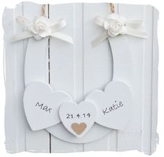 Handmade Wedding Horseshoe with wooden hearts and personalised with names and date www.bynicki.co.uk xx