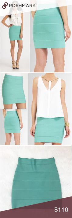 """BCBGMAXAZRIA Simone Aqua Blue Power Banded Skirt M BCBGMAXAZRIA """"Simone"""" power textured bandage pencil skirt. Medium. The color is a gorgeous mint aqua blue. Like new. I don't recall ever wearing this skirt outside of my home, aside from trying it on. Pull-on style. Approx 14"""" across the waist and 17"""" long, lying flat, unstretched. Hem falls to mid / lower thigh. Authentic BCBG. 90% rayon 9% nylon 1% spandex. The fabric holds everything in and accentuates your curves in the most flattering…"""