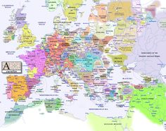 Political map of Europe, circa 1300 AD.
