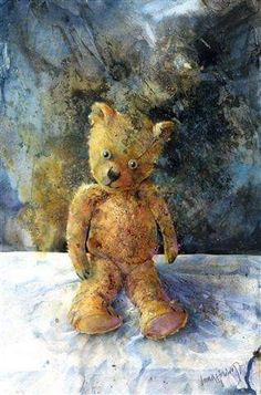 Lorna Kirin - Recent Paintings: 'Hug Me' ~ Watercolour and Ink on Bockingford Watercolor Fox, Watercolor Paintings, Watercolours, Bear Paintings, Old Teddy Bears, Still Life 2, Gcse Art, Hug Me, How To Take Photos