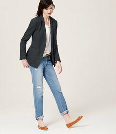 Flannel blazer, blouse, distressed denim and flats | LOFT Sept 2015