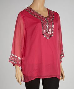 Looking for fast and breezy glam? Slip into this vibrant tunic, which features a fluttery chiffon overlay and trim bedazzled with twinkling sequins.