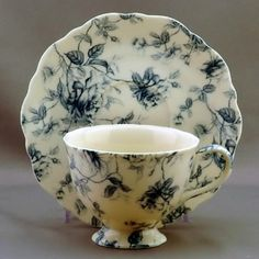 Blue Toile Cup and Saucer - 4 Sets