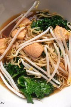 Asian Soup with Salmon and Kale - Food