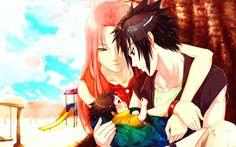 Sasuke and Sakura with their baby.