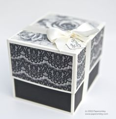 Box mit DSP zeitlos elegant von Stampin Up! als Geschenkverpackung für 3 Rollen Pünktchen-Spitzenband