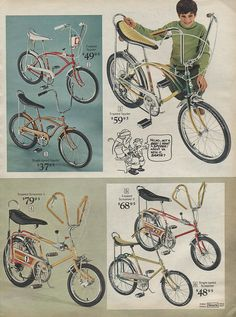 Bikes in Sears Christmas Wish Book Catalog, 1971, by Wishbook, via Flickr.  I had a bike similar to the one on the top right.