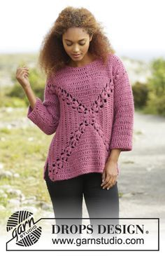 Autumn Rose Jumper By DROPS Design - Free Crochet Pattern - (garnstudio)