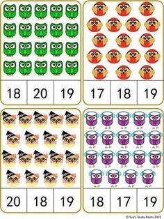Owls Count and Clip Cards: Numbers by Sue's Study Room Numbers Preschool, Preschool Math, Teaching Math, Kindergarten Math Worksheets, Math Resources, Kids Learning Activities, Math For Kids, Class Activities, Cool Math