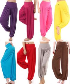 Hot Womens Harem Yoga Pant Belly Dance Comfy Loose Boho Wide Club Trousers M-XXL