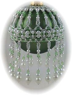 veiled Beauty Ornament Cover Pattern | beaded Christmas tree ornam ...