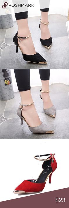 Gold Tip Heels Shoe Width: Medium(B,M) Platform Height: 0-3cm With Platforms: Yes Closure Type: Buckle Strap Toe Shape: Pointed Toe Fit: Fits true to size, take your normal size Pump Type: Ankle Strap A Queens Fitt Shoes Heels