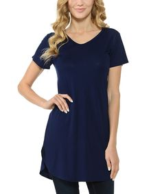 Navy Round-Hem V-Neck Tunic - Plus