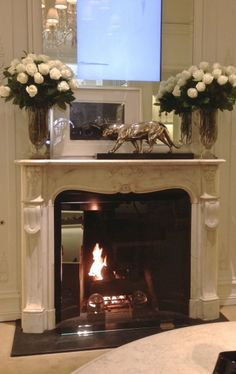 A fireplace in most rooms. Ralph Lauren's flagship store taken during #BlogTourNYC. Photo via habermehl design group inc.