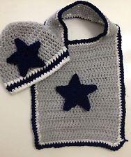 New Dallas Cowboys Football Sports Star Baby Crochet Beanie Hat Cap Bib Gift Set