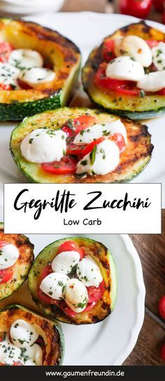 Gegrillte Zucchini Tomate-Mozzarella Low Carb - ♥ die besten Familien - Rezepte ♥ - A quick and easy low carb recipe for grilled zucchini with tomatoes and mozzarella – a foodie friend Healthy Food Recipes, Veggie Recipes, Low Carb Recipes, Recipes Dinner, Veggie Food, Quick Recipes, Law Carb, Zucchini Tomato, Zucchini Mozzarella