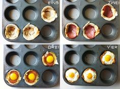 Schinken-Ei-Muffins aus Toast in einer Muffinform backen
