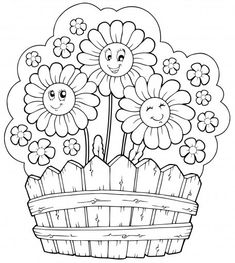 Coloring pages frog butterfly and flower with ladybug Spring