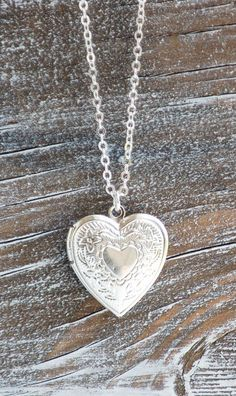 Silver HEART LOCKET Pendant - This is similar to the locket my hubby gave me on my 16th birthday - we are now married 50 yrs!