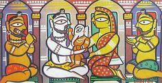 Lord Shiva, Parvati and Ganesha. Folk art on cardboard.