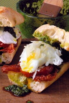 Roma Eggs - Poached eggs, pesto,  prosciutto, Roma tomatoes and Parmesan cheese on ciabatta or foccacia bread