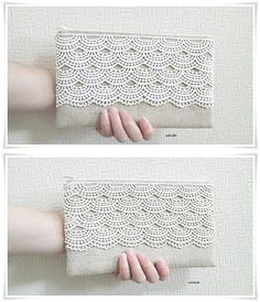 Bridesmaids lace clutch rustic chic natural linen blend white ivory cream lace evening purse  Only 1 piece of white lace clutch left in this listing. Limited quantities for cream lace clutch left. Get them while stock last!  Approximate Size H13.5cm x L22.5cm  Sewn and lined with japanese cotton linen (45% linen 55% cotton) fabrics. Fully padded and interfaced for extra stability, sturdy yet soft to protect your belongings.  Also available in other fabric colors such as white, navy blue…