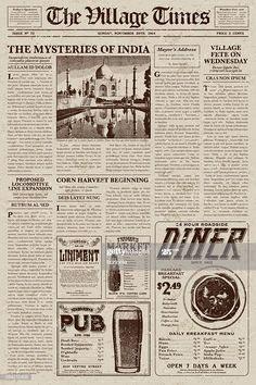 A vector illustration of an old fashioned newspaper in a Victorian...