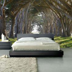 poster mural trompe l'oeil, tapis beige, coussins blancs pour la chambre à coucher