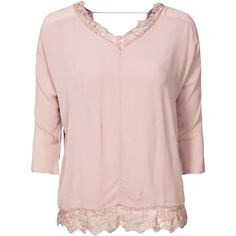 Find styles that flatter! #invertedtriangle Vero Moda Vmsofana 34 Top ($47) found on Polyvore featuring tops, blouses, blouses & shirts, light brown, womens-fashion, pink lace top, lace sleeve top, pink blouse, pink shirt and lace sleeve shirt