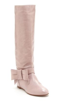 Blush Pink Bow Boots for Chan Pretty Shoes, Cute Shoes, Me Too Shoes, Bow Boots, Pink Boots, Flat Boots, Dream Shoes, Bearpaw Boots, Passion For Fashion