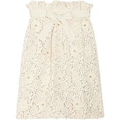Chloé Appliquéd cotton-blend lace skirt (€640) ❤ liked on Polyvore featuring skirts, bottoms, chloe, lace, cream, knee length lace skirt, white knee length skirt, pull on skirts, cream skirt and chloe skirt