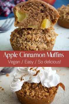 These apple cinnamon muffins are the perfect snack for the autumn season. I love this combination, especially with crispy crumbles on top of the muffins. Not only does the muffins smell good in the kitchen, but they taste simply heavenly! The muffins are fluffy and moist. Besides, they are so easy to make and they are completely egg-free and dairy-free. They are also very easy to make.