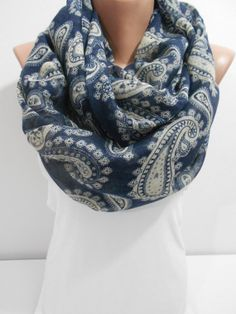 Paisley Scarf, Navy Blue Oversize Scarf, Women Cotton Shawl Scarf, Lightweight Stud Scarf Fashion Cowl Scarf Gift For Her For Mom, ScarfClub on Etsy, $17.20