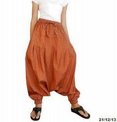Nr. 10  Chambray Denim Baumwolle Harem Hose Drop von Fashionsup, $79.95