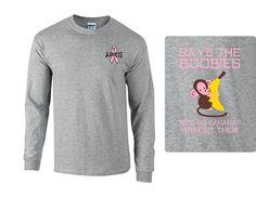 Apes Save the boobies Tshirt Greek Apparel, Greek Clothing, Graphic Sweatshirt, T Shirt, Marketing, Sweatshirts, Sweaters, Fashion, Tee