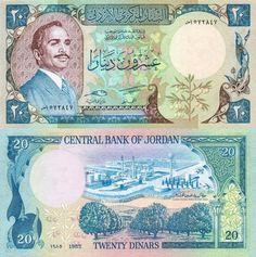 20 Dinars Jordan's Banknote, 1985
