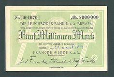 GERMANY 5 Millionen 1923 AU BREMEN Francke Werke  http://cgi.ebay.com/ws/eBayISAPI.dll?ViewItem&item=161205584631