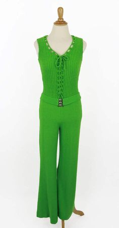 Vintage 1970s Green Jumpusuit by Dolphin by CeeLostInTime on Etsy