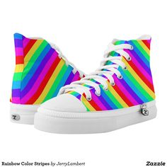 Rainbow Color Stripes Printed Shoes
