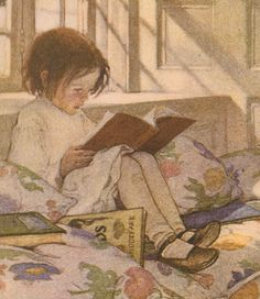Little Girl Reading Books Jessie Willcox Smith 1905 8x10 Matted Print Antique