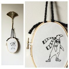Small Edward Gorey hand embroidered hoop. Unwelcome Guest. #embroidery #wallart #edwardgorey