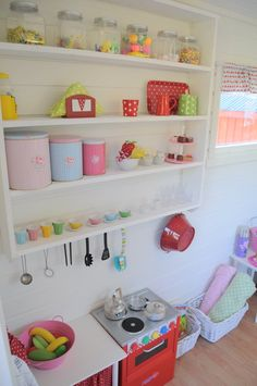 Small empty counter next to fridge-with curtain under it Playhouse Decor, Playhouse Interior, Girls Playhouse, Playhouse Ideas, Kids Cubby Houses, Kids Cubbies, Play Houses, Wendy House, Backyard For Kids